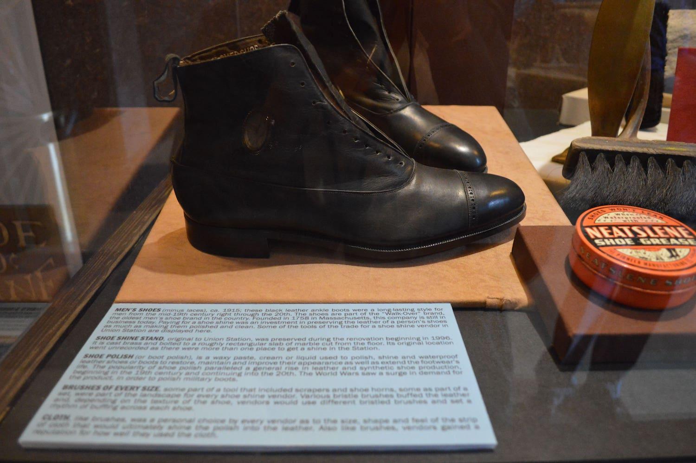up close shot of case within Shoe Shiner Exhibit